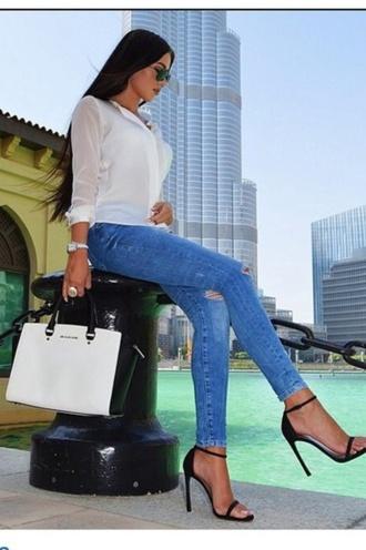 bag fashion sunglasses hairstyles jewels blouse high heels blue jeans denim watch black hair