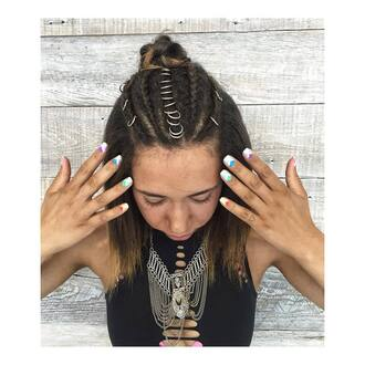 hair accessory hair rings hairstyles braid necklace silver necklace black top top nail polish