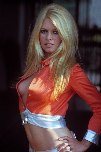 blouse orange satin retro cropped brigitte bardot