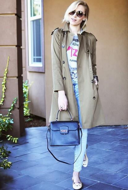 society grl blogger jeans trench coat shirt coat bag