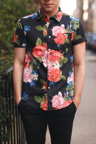 black shirt stamped flowers vintage shirt floral menswear
