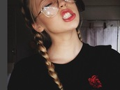 shirt,rose,black,red,rose shirt,black shirt,loren gray,loren beech,sunglasses