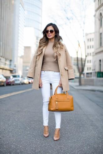 maria vizuete mia mia mine blogger coat top jeans shoes bag sunglasses