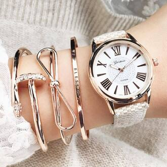 jewels tumblr arm bracelet bracelets gold bracelet gold jewelry jewelry watch stacked bracelets bow bows pretty girly