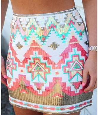 skirt girl girly girly wishlist mini skirt cute tribal pattern sequins