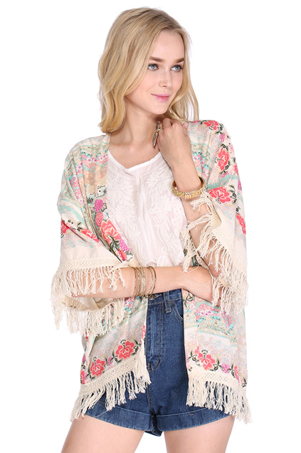 ROMWE | ROMWE Tassels Floral Print Loose Kimono, The Latest Street Fashion
