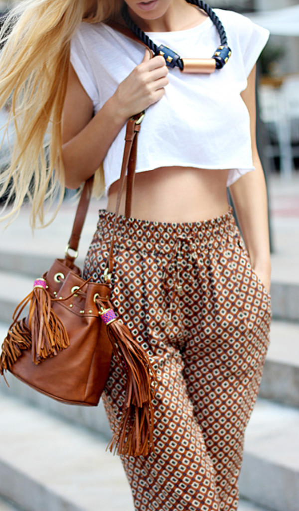 pants top cropped white tie pant elastic waist fashion girly cute handbag messenger bag jewelry accessories necklace summer outfits summer brown tan tassel jewels