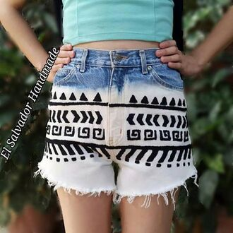 shorts tribal shorts tribal designs tribal design shorts tribal pattern tribal pants high waisted shorts high waisted jeans blue shorts aztec aztec print aztec pattern arizona jean company handmade handmade shorts ethical ethinc print
