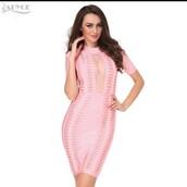 dress,pink dress,mesh dress,bodycon