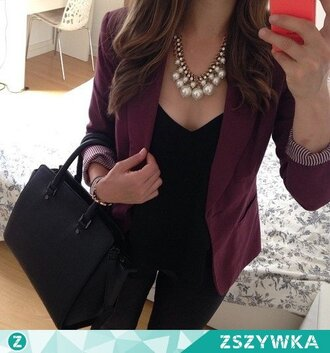 jacket girl style fashion black bag necklace jeans clothes blazer burgundy burgundy blazer black bag accessories statement necklace black jeans
