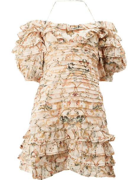 Zimmermann dress bandage dress women bandage floral nude silk