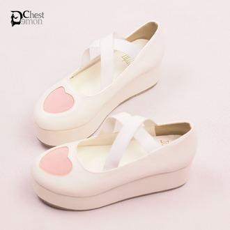 shoes harajuku kawaii heart lolita platform shoes