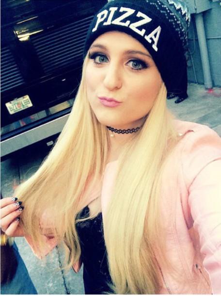 hat pink meghan trainor pizza jacket coat pink coat choker colalr choker cross