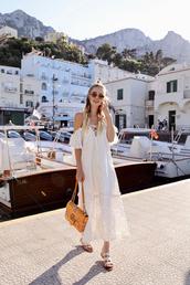 dress,tumblr,midi dress,white dress,summer dress,summer outfits,bag,gucci bag,sandals,flat sandals,sunglasses,shoes