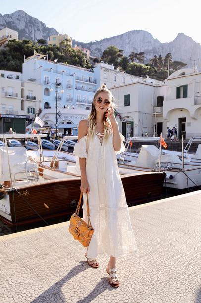 166870ced35 dress tumblr midi dress white dress summer dress summer outfits bag gucci  bag sandals flat sandals