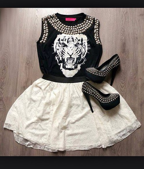 black  high heels tiger shirt white skirts