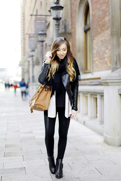 jacket blogger flirting with fashion cardigan top bag black and white leather jacket