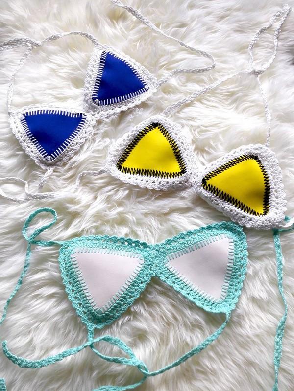 swimwear girl girly girly wishlist two-piece crochet crochet bikini bikini bikini top swimwear two piece