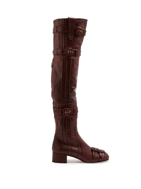 Prada embellished leather boots leather burgundy shoes