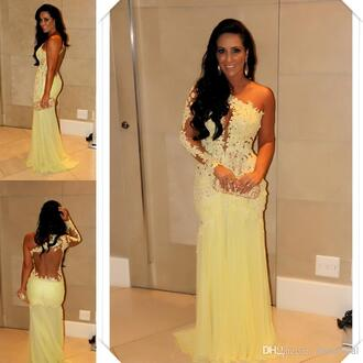 dress sexy prom dress yellow dress lace dress one shoulder evening gown