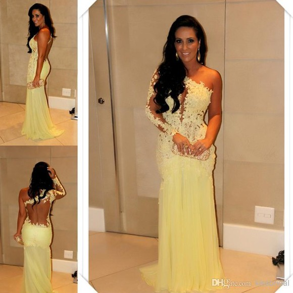 dress one shoulder prom dress sexy yellow dress lace dress evening gown