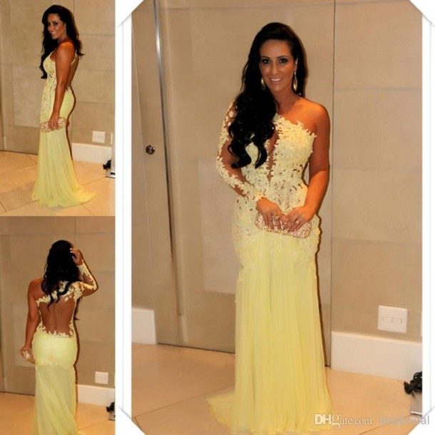 Dress: sexy, prom dress, yellow dress, lace dress, one shoulder ...