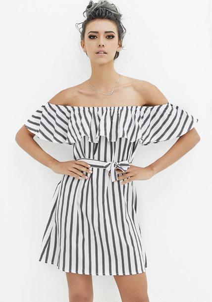 dress fashion white dress stripes black off shoulder dress