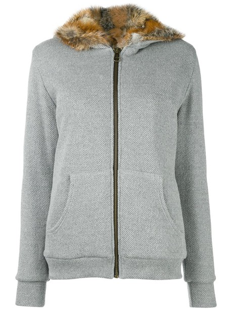 jacket hooded jacket women cotton wool grey