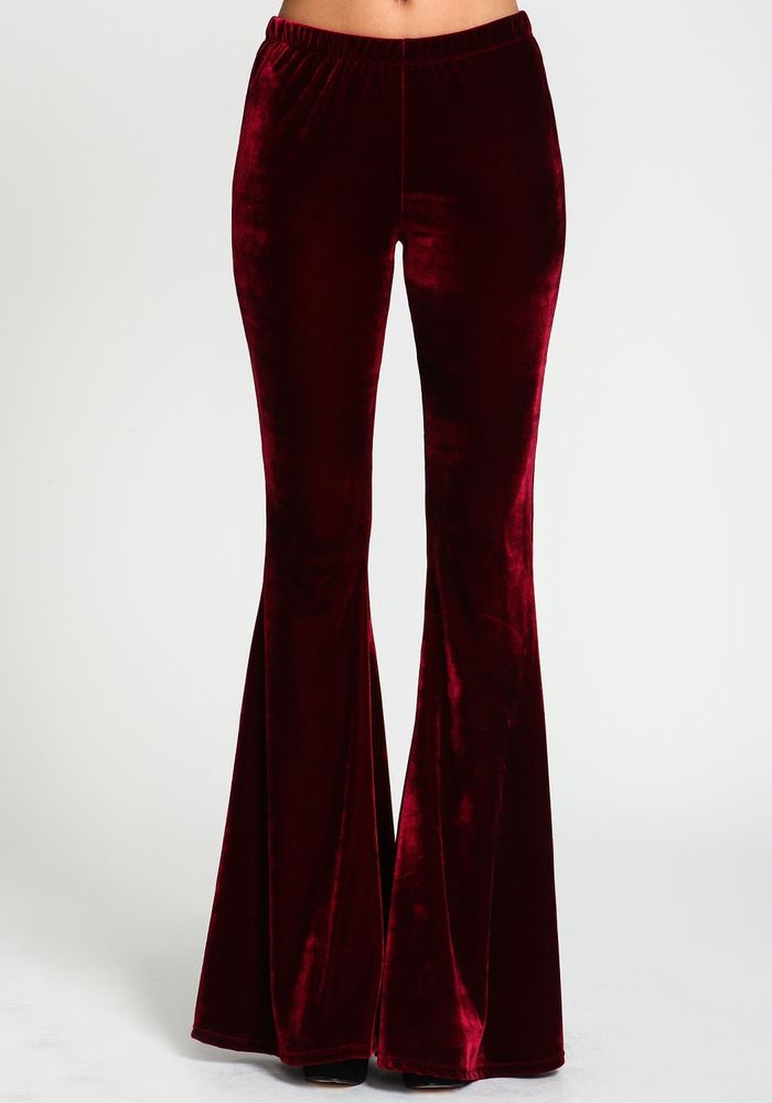 MEDIUM BOHEMIAN BANDED WAIST BELL BOTTOM FLARE LEG BURGUNDY RED VELVET PANTS