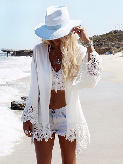 White Flared Sleeve Eagle Print Back Lace Trim Kimono