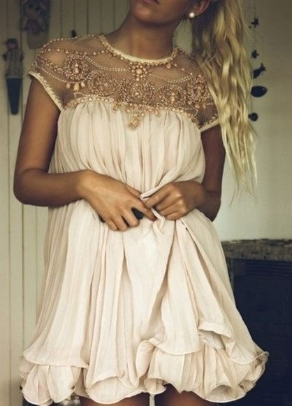 short dress white dress beads dress short prom dress beaded dress white shoulder beaded evening dress cap sleeve dress cream dress cute dress blogger