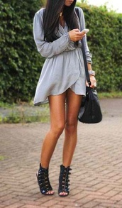 dress,clothes,chiffon,grey,bohemian,vintage,shoes,short,loose,folded,long sleeve dress