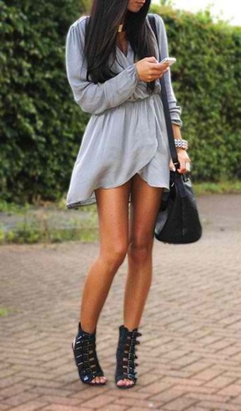 dress clothes chiffon grey bohemian vintage shoes short loose folded long sleeve dress