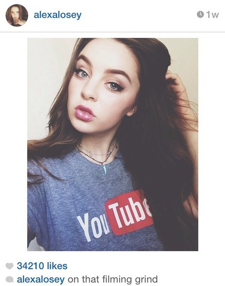 shirt t-shirt grey shirt top youtuber alexa losey youtube logo