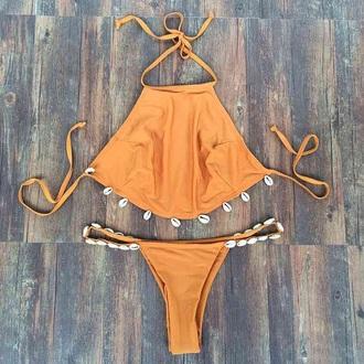 swimwear bikini beach orange swimwear brown tankini shell