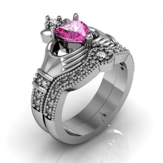 jewels pink sapphire ring set claddagh ring set heart shaped pink diamond claddagh ring set pink heart diamond claddagh ring / engagement ring set - 18k platinum plated sterling silver evolees.com