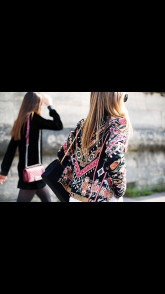 jacket colorful colorful patterns black pink green