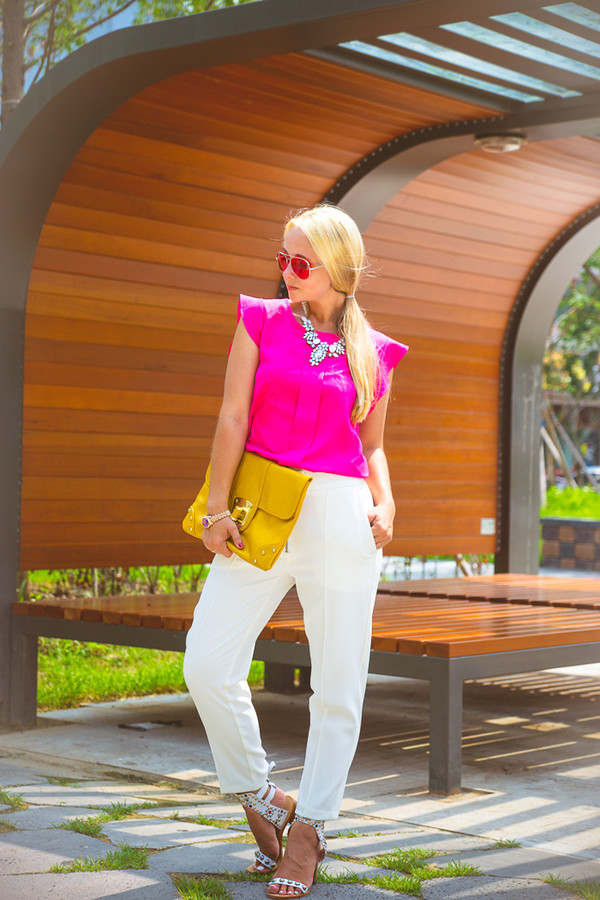 my blonde gal blouse bag jewels shoes sunglasses