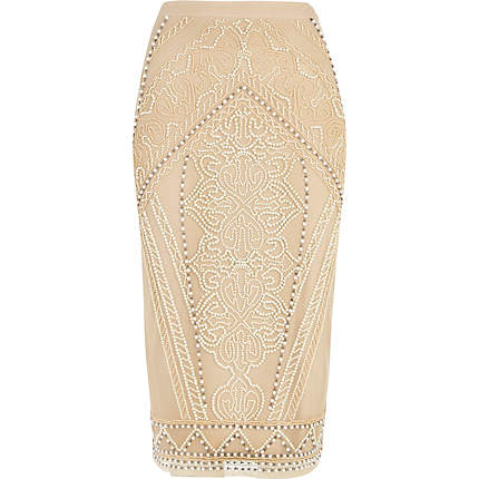 pearl embellished pencil skirt - midi skirts - skirts - women