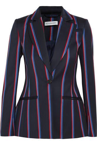 blazer cotton wool navy jacket
