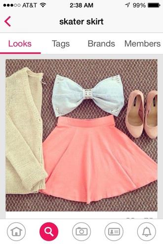 top bow bow top studs studded skirt coral skirt skater skirt denim denim top