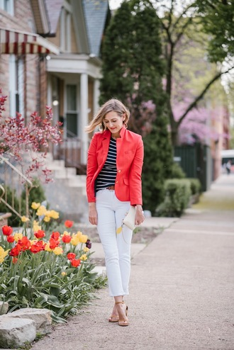 see anna jane blogger jacket red jacket blazer striped top sandals high heel sandals clutch white jeans spring outfits