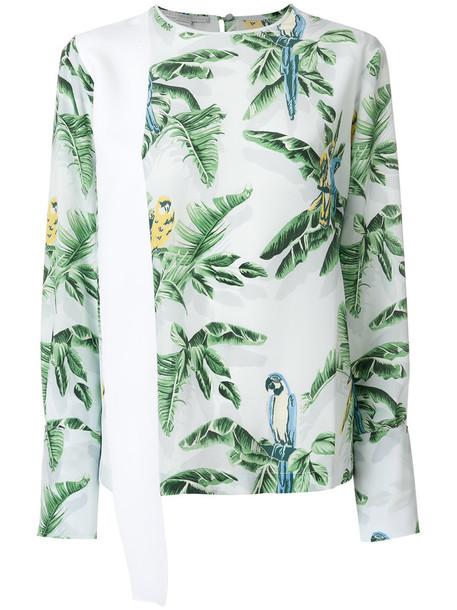 Stella McCartney top women spandex white print silk