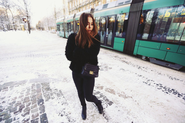 the next episode blogger fuzzy coat coat pants bag shoes