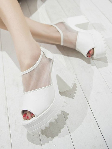 shoes white boots high heels summer shoes spring fashion platform platform shoes
