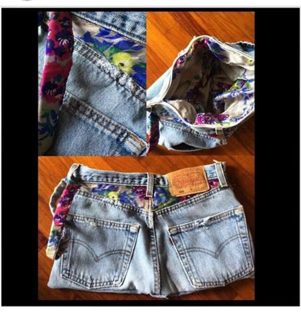 bag levi's shorts denim shorts shorts jeans vintage