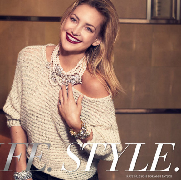 kate hudson sweater ann taylor lookbook fashion
