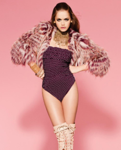 swimwear purple swimwear strapless bikini onepiece gold jewelry fur jewels coat