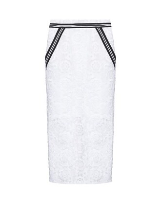skirt pencil skirt embroidered high floral white