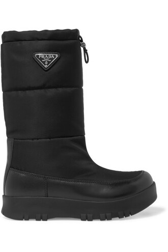 shell boots leather black shoes